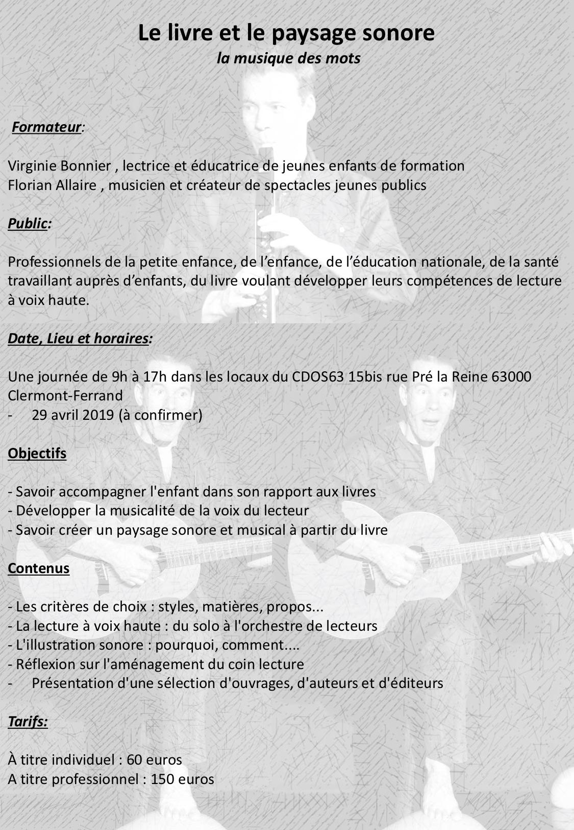 Ninie et Compagnie - Formations - Le livre et la paysage sonore