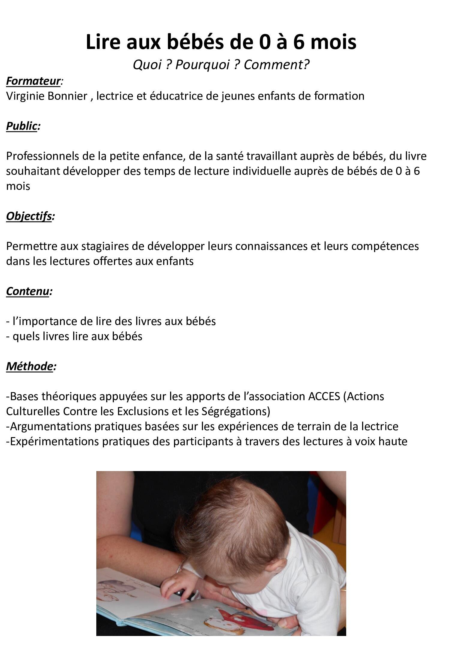Ninie et Compagnie - Formations - Lire aux bébés de 0 à 6 mois